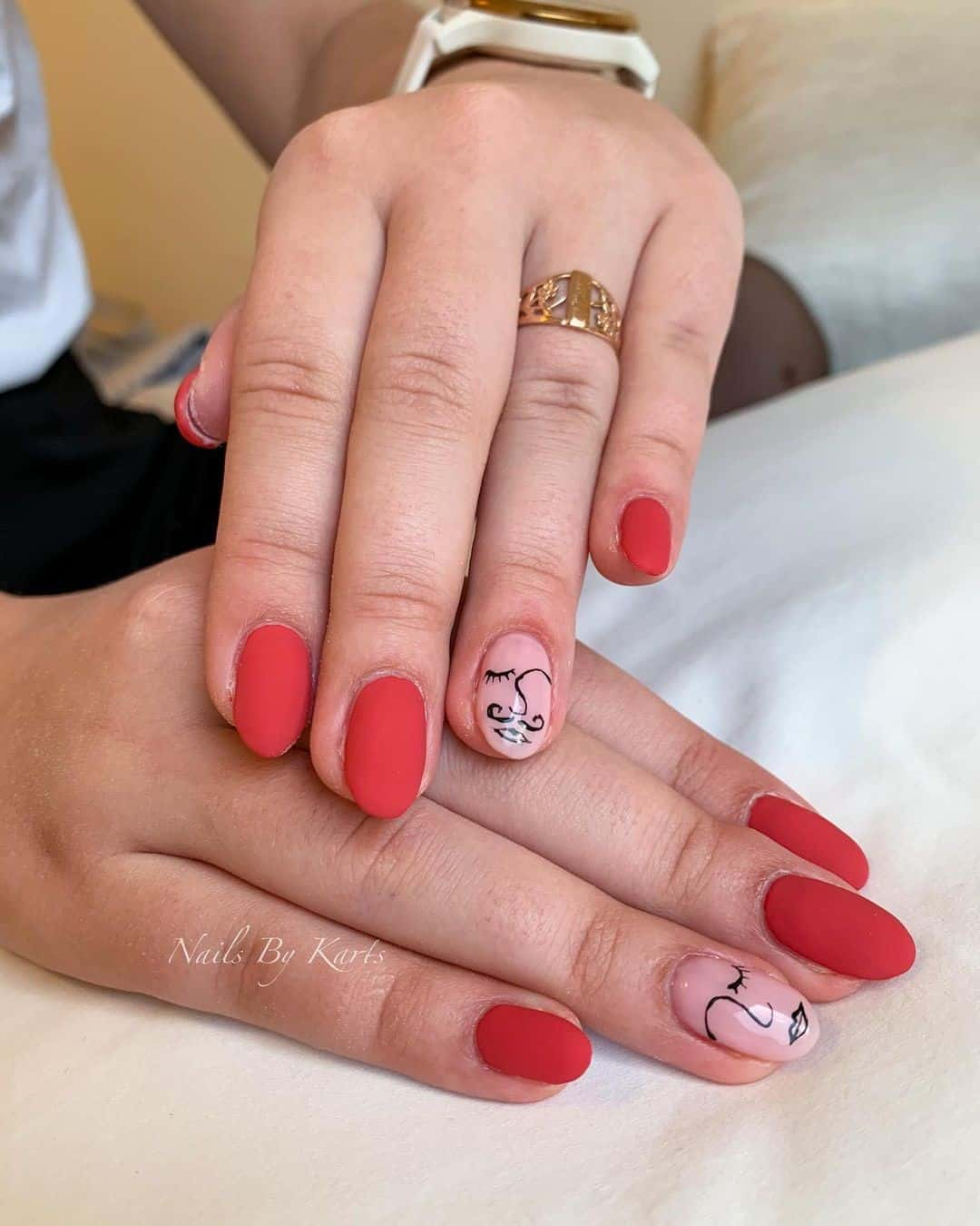 Hot Red Matte Nails With Art