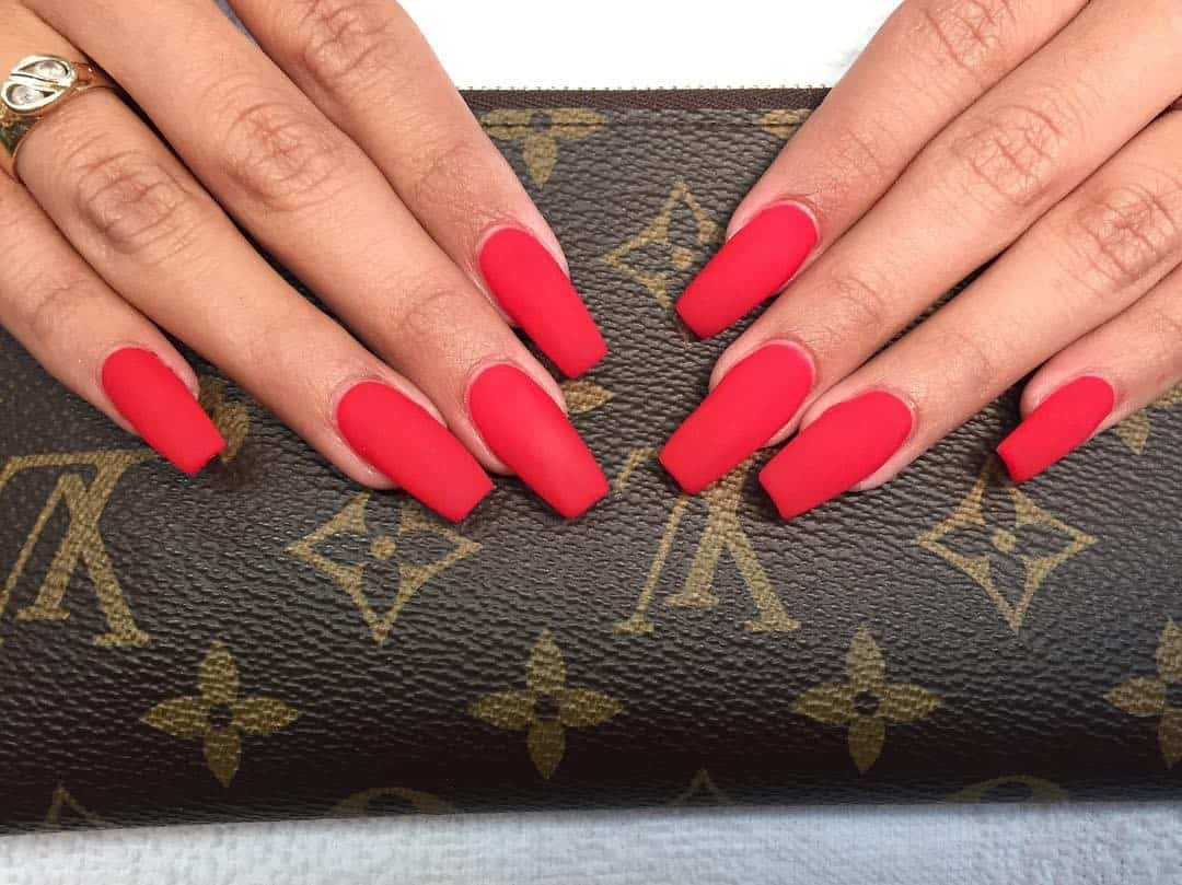 Hot Red Matte Nails
