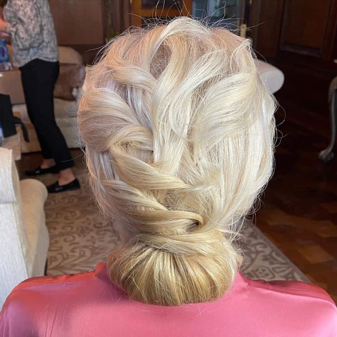 Light Blonde Bun For Mother Of Bride