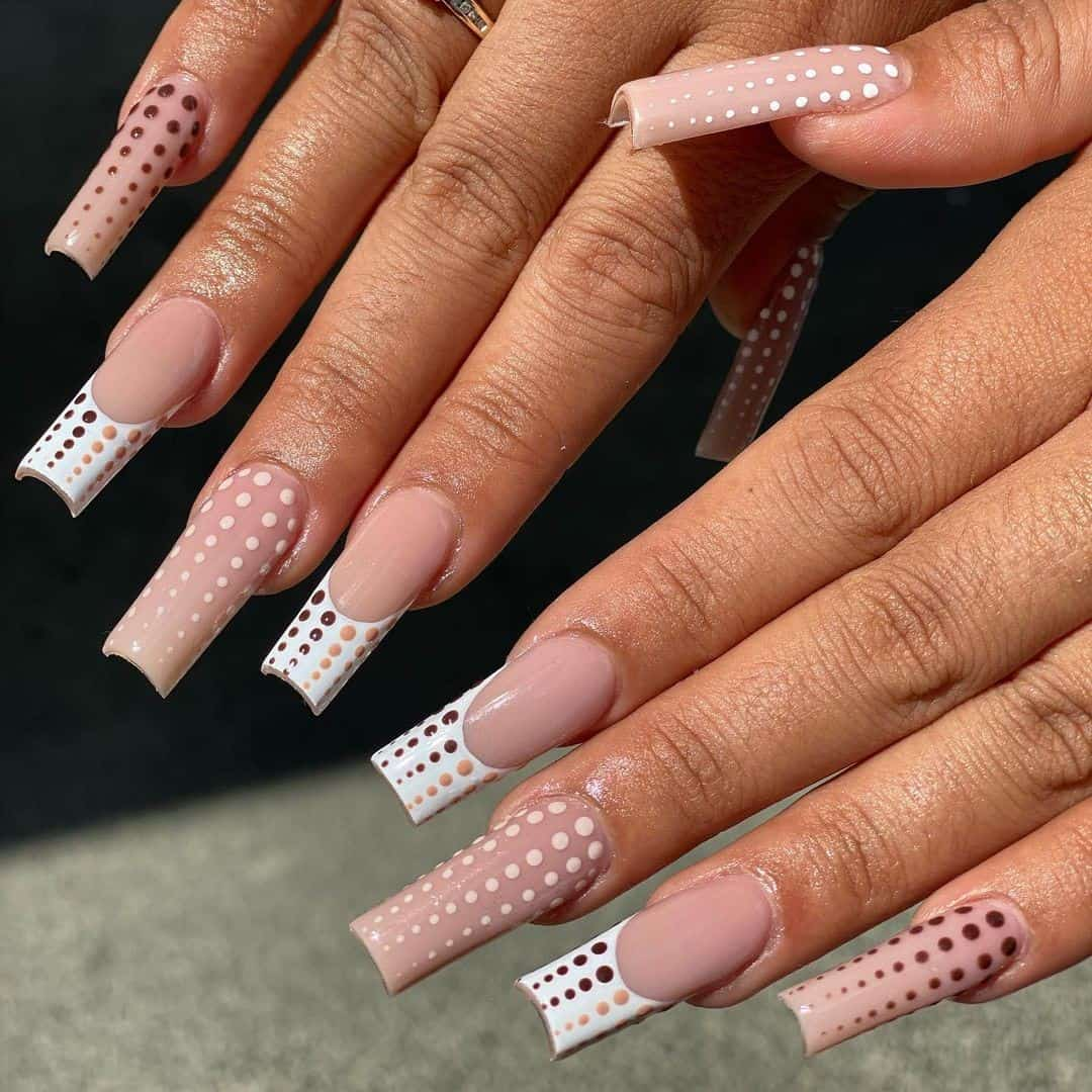 Long Acrylic Coffin Nails Nude