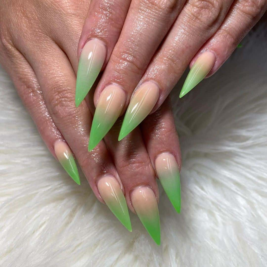 Long Stiletto Shaped Nails Green Ink