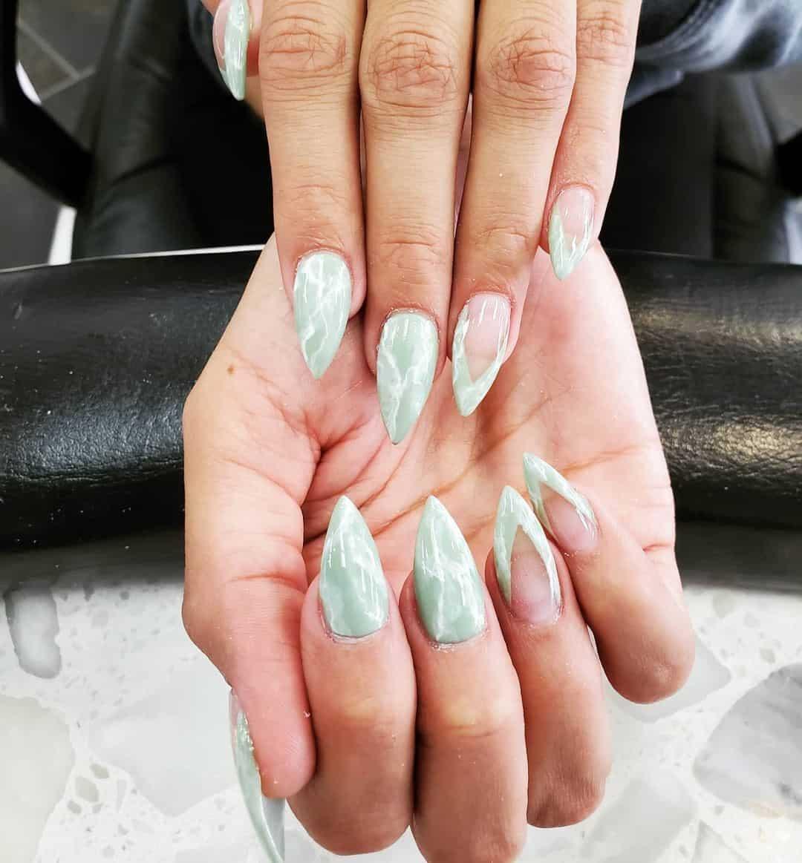 Marble Nails Stiletto Manicure