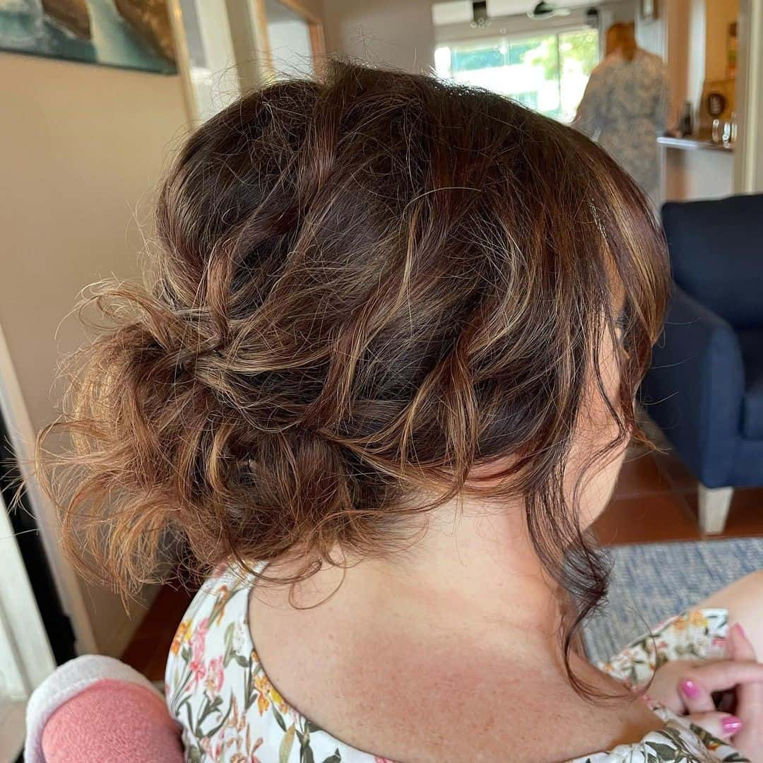 Messy Low Bun With Highlights