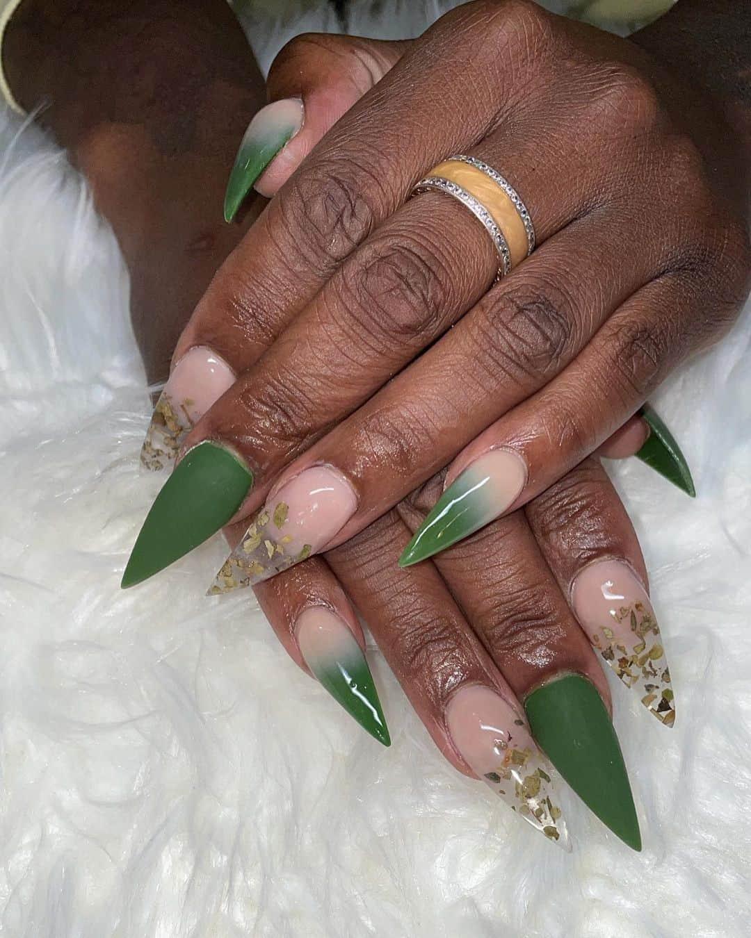 Mystical Green Stiletto Nails
