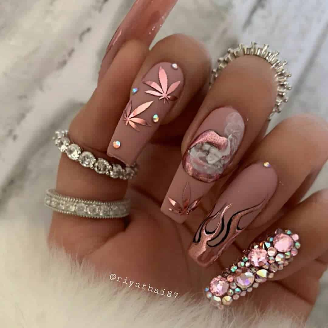 Nude Coffin Nails With Floral Prints