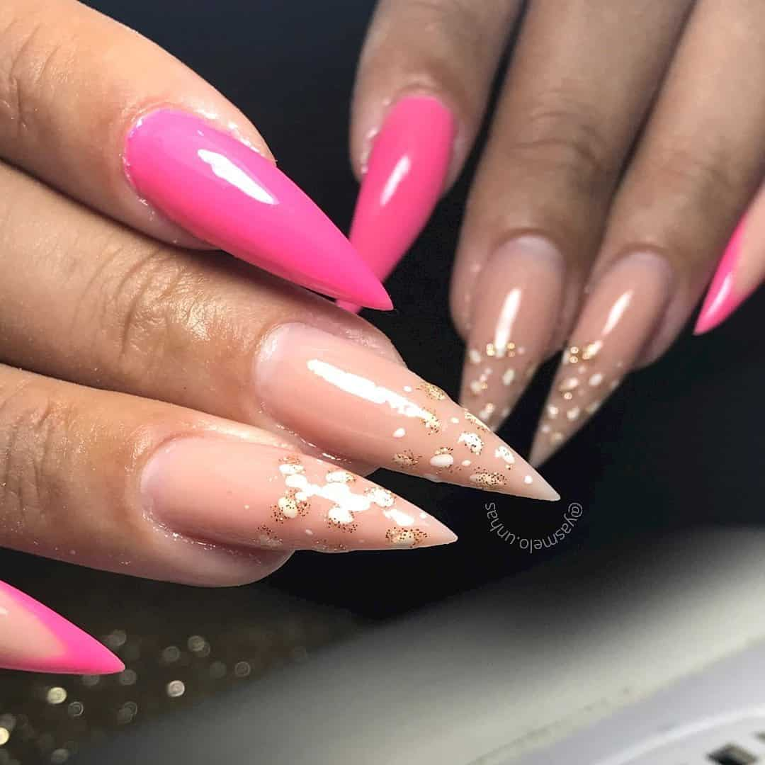 Nude & Pink Stiletto Nails