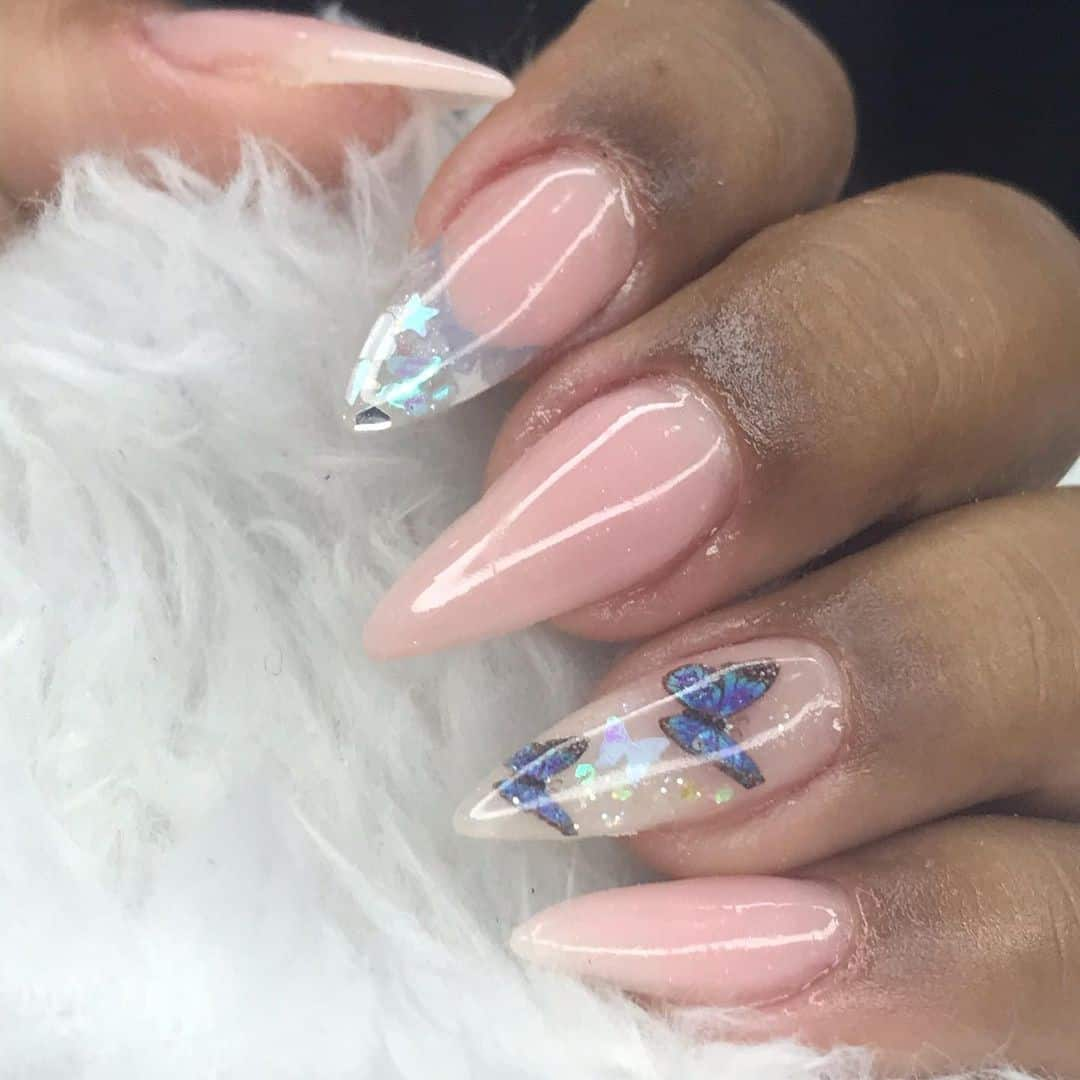 Nude Stiletto Nails With A Pop Of Glitter
