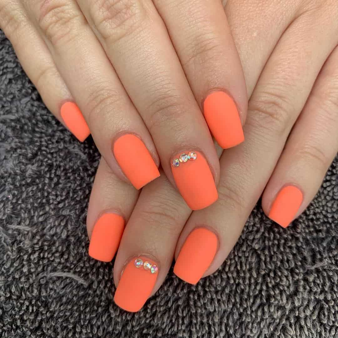 Orange Matte Nails Square Shape