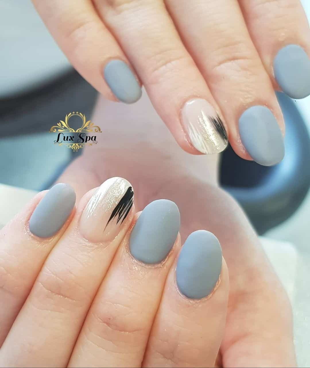 Oval Blue Matte Nails
