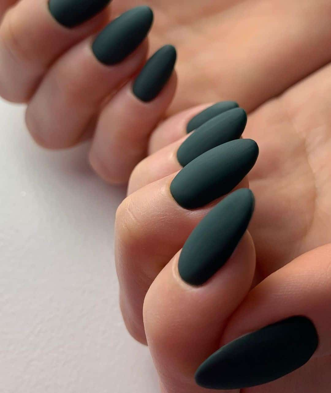 Oval Shaped Green Matte Nails