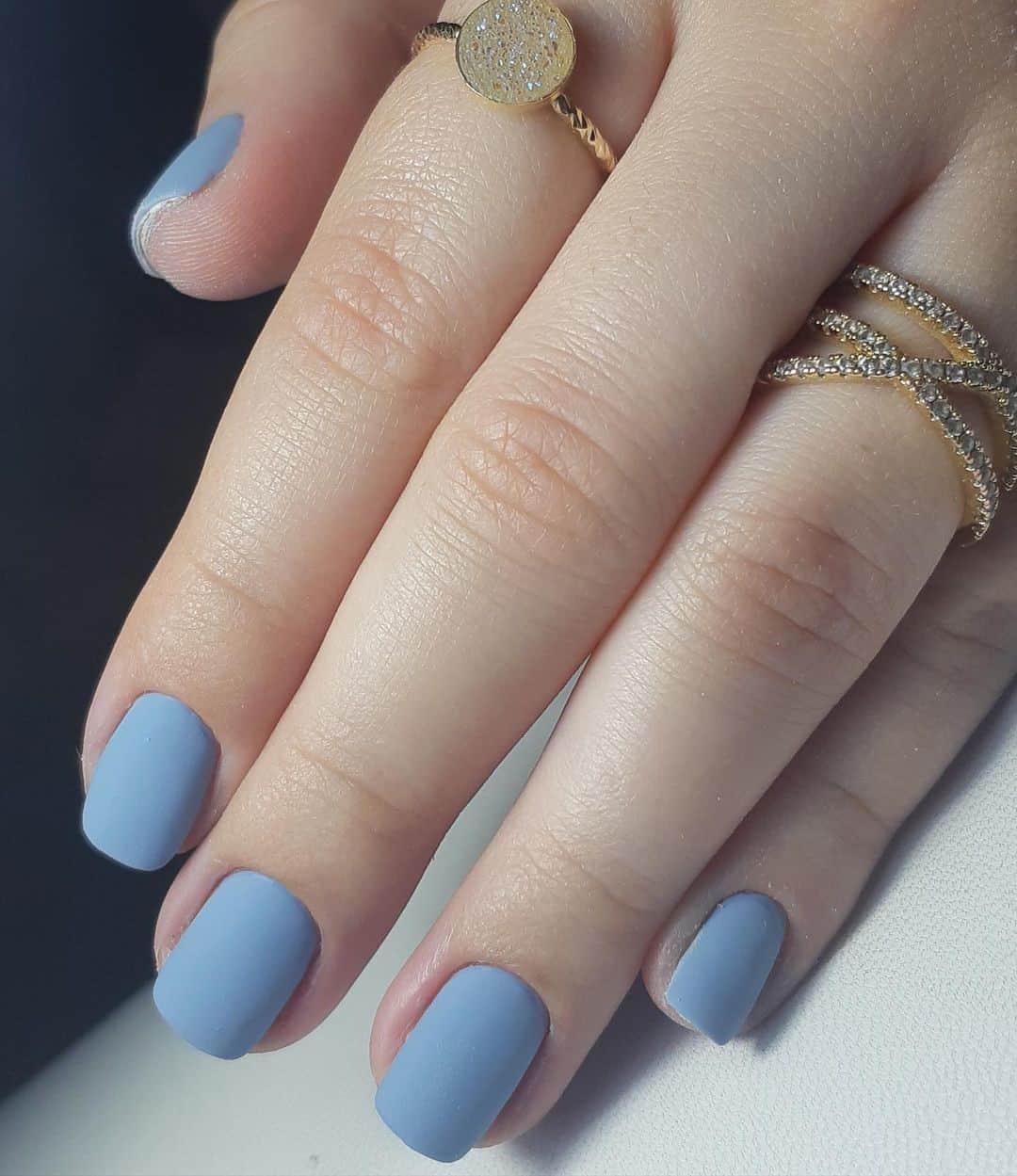 Pastel Blue Matte Nails