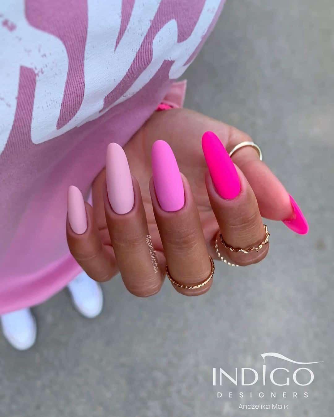 Pink Radiant Matte Nails