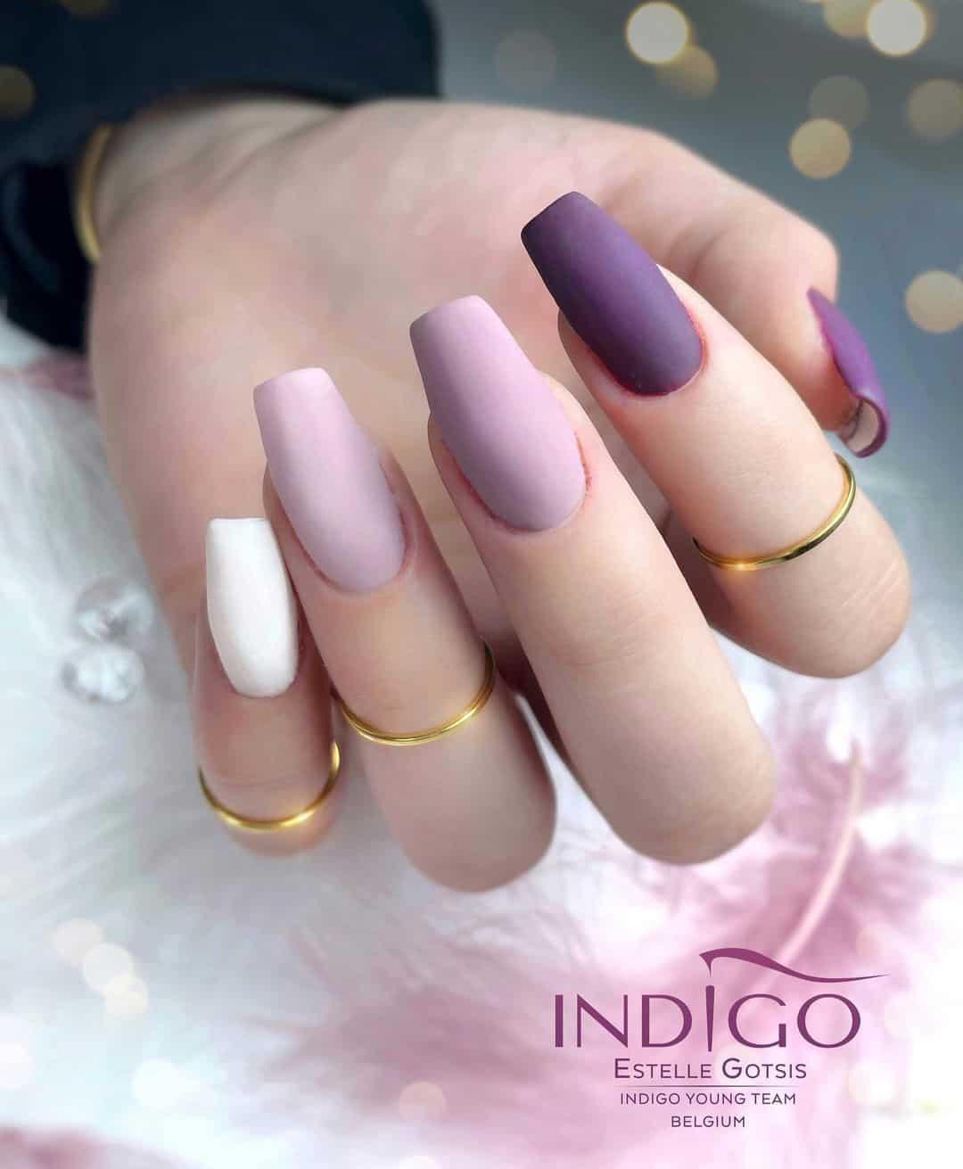 Purple Matte Nails Ombre Idea