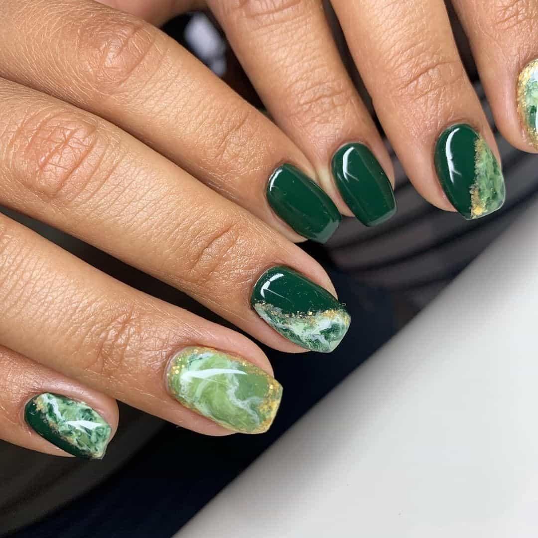 Short Green Coffin Nails