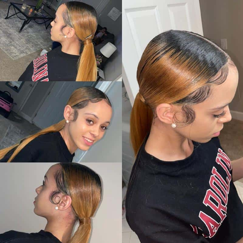 Sleek Ponytail With Center Parting 3