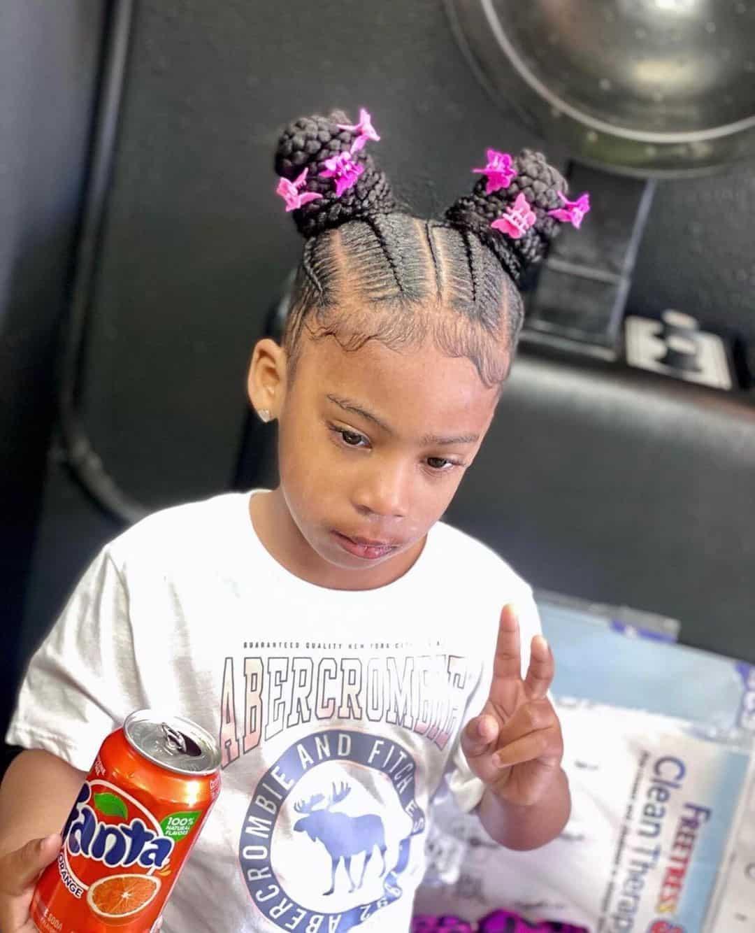Space Buns Little Girl Cut