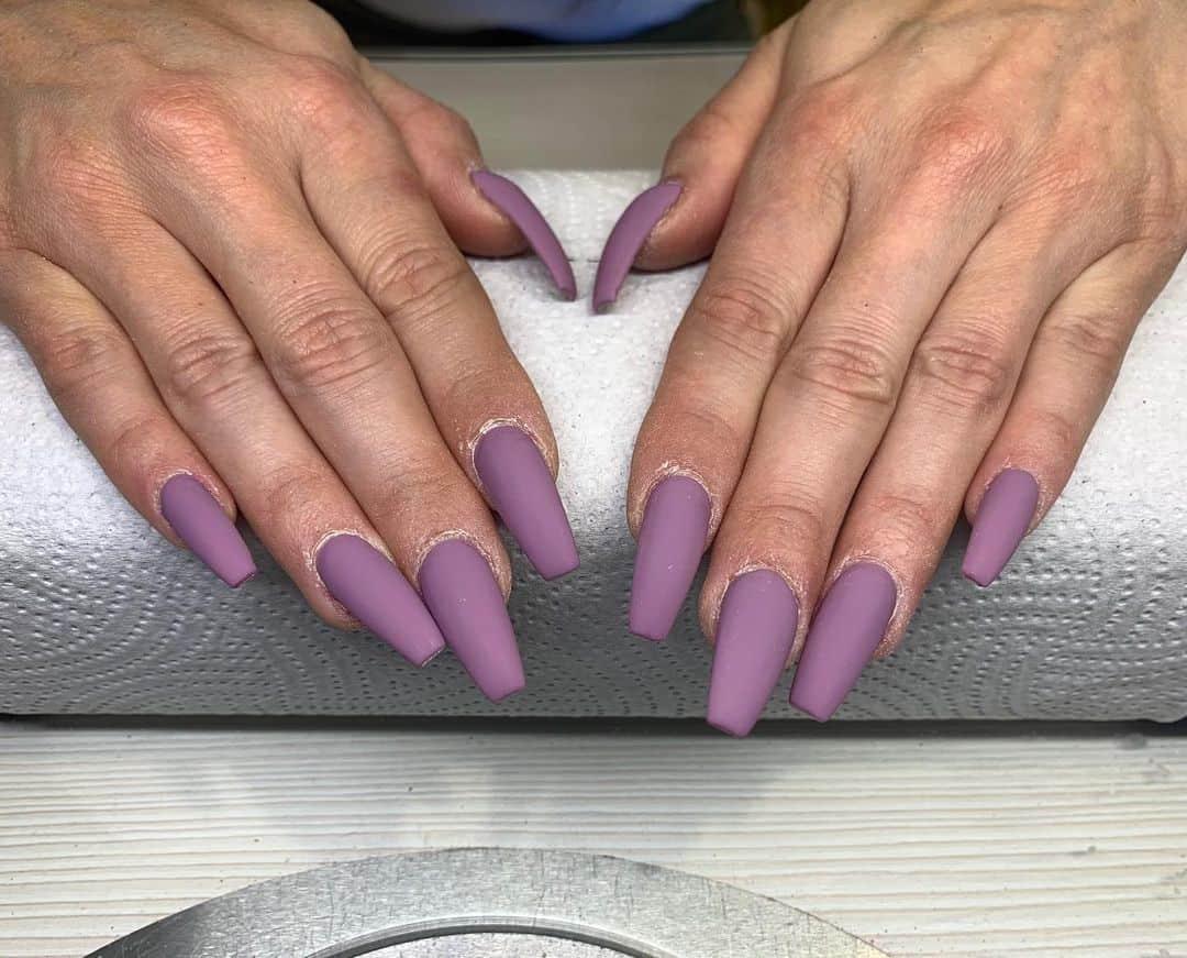 Square Shaped Purple Matte Nails