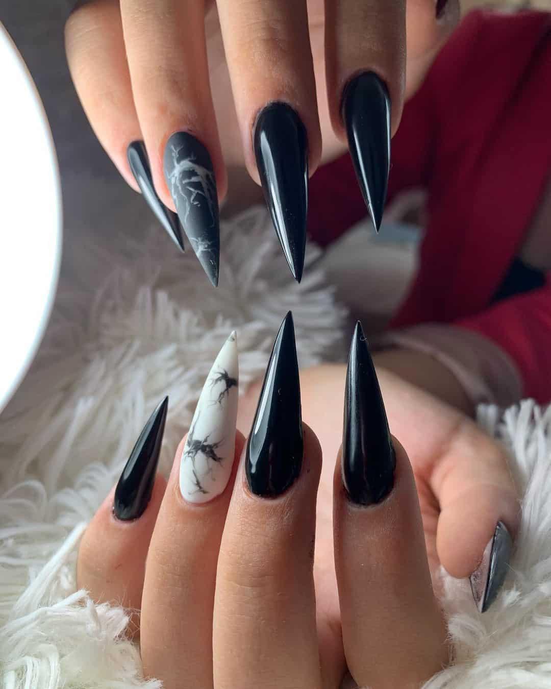 Stiletto Nails Black Manicure Long