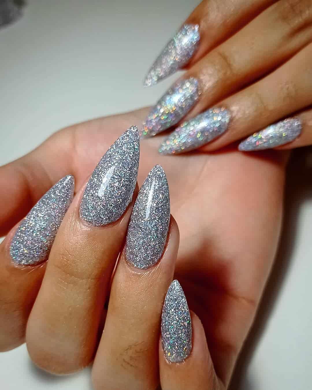 Stiletto Nails Grey Silver Design